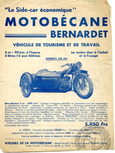 Motobécane 500 R5 et side-car Bernardet - 1938