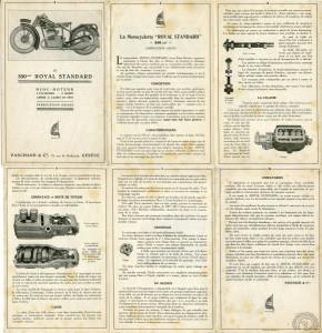 Le premier prospectus en français distribué au salon de Genève de mars 1928: La Royal Standard n'est encore qu'une 350 et n'a pas de réservoir d'huile séparé.
