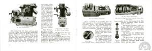 Le catalogue en allemand de 1929 montre l'entraînement de l'arbre à cames par vis sans fin et couple conique et le l'alignement vilebrequin, embrayage boîte très facilement accessible (la photo de droite est une vue de dessous).