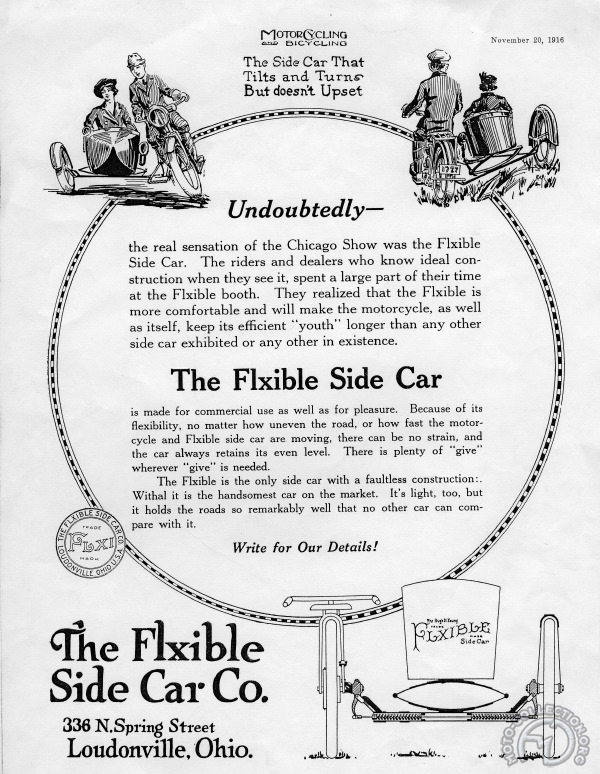 3 roues sur l'angle Side-car-Flxible-1916