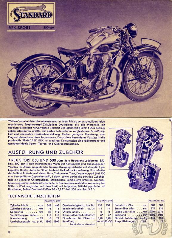 Motos Standard : le simple ACT né du protectionnisme Standard-350-500-Rex-Sport-1937