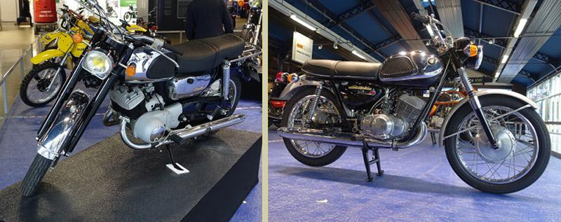 La Suzuki 250 T10 de 1963 à gauche et la célèbre T20 de 1968 à droite