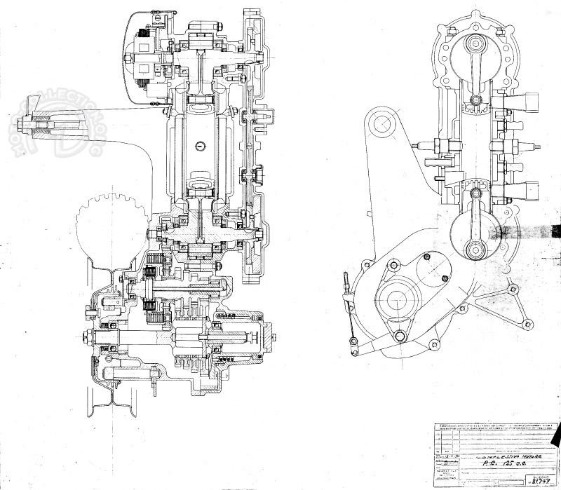 L'usine à gaz du Vespa des records : Admission et précompression dans les carters du haut ET du bas, deux carbus, double allumage, refroidissement liquide et boite quatre vitesses.