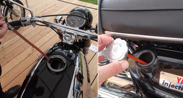 J'ai été séduit par les jauges d'essence et d'huile de la Yamaha 305 YM2C.
