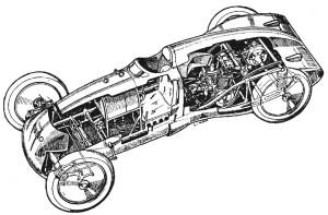 Le superbe dessin de Giovanni Cavara révèle la structure interne et le châssis tubulaire.