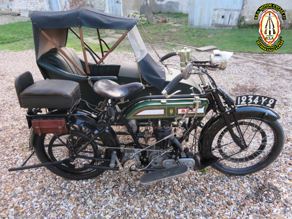 BSA 4 1/2 HP & Side-car motocyclette motorrad motorcycle vintage classic classique scooter roller moto scooter
